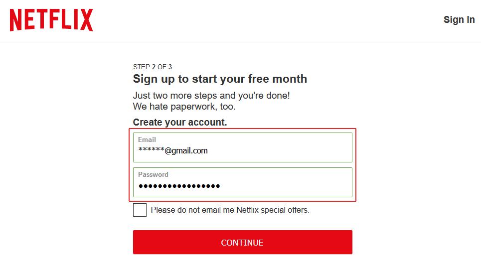 sign up Netflix