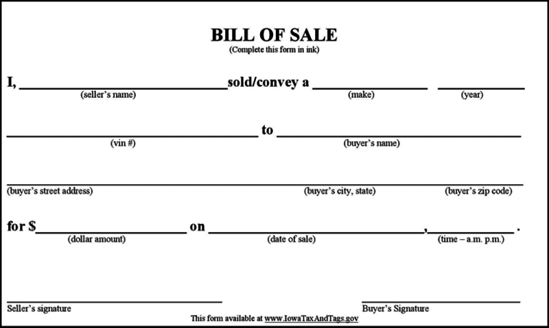 free bill of sale for car  templates  forms  download in pdf