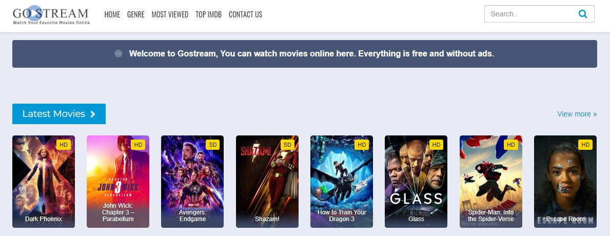 gostream frontpage
