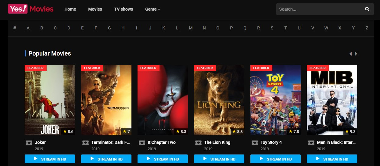 yesmovies frontpage